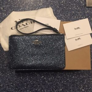 NWT, Coach wristlet blue and silver